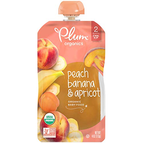 Foods Peach - Plum Organics Stage 2, Organic Baby Food, Peach, Banana and Apricot, 4 ounce pouches (Pack of 12) (Packaging May Vary)