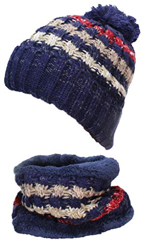 Best Winter Hats Adult Rib Knit Striped Beanie & Neck Warmer Set, Faux Fur Liner - Navy