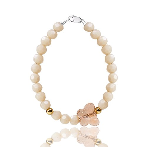 Charm Oval Bracelet 14k (D Charms Premium Bracelet For Baby Girls & Women - With Czech Crystals Butterfly and Gold filled beads - Sterling Silver - Great Gift idea (Size M (age 3-5) 5 inches))
