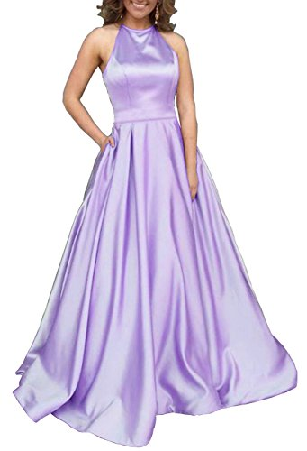Women's Halter A-line Satin Formal Evening Party Gown Long Prom Dress with Pockets Size 2 Lilac