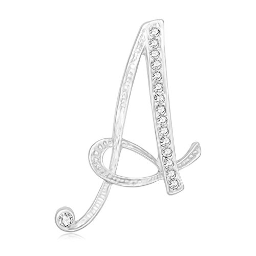 (SENFAI 26 Single Initial Alphabet Letters Personalized Charms Brooch Pin Rhodium Plated (A3))