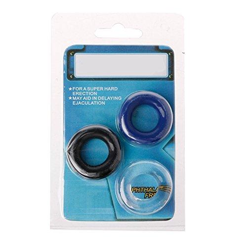 DDlong 3pcs Vibration Delay Ring Silicone Massage Ring