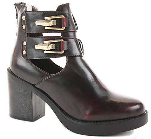 WINTER HEEL CHELSEA HEELED F MID Style BOOTIES Bordeaux BOOTS HIGH BLOCK SIZE ANKLE 8 WOMENS PLATFORM LADIES 3 5I4qwRqz