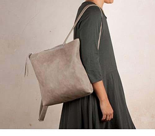 Mochila de cuero gris, mochila gris mujer, mochila piel gris, mochila piel suave