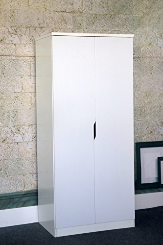 K16025 Smart Home White Clothing Storage Two Door Wardrobe (Armoire Single Wardrobe)
