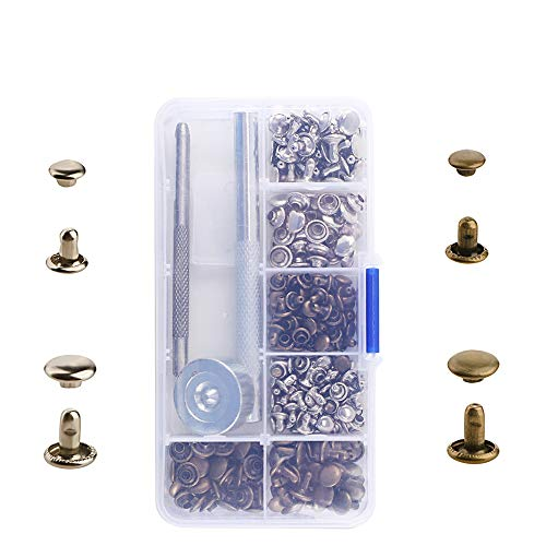 Anpatio 120pcs Double Cap Leather Rivets Brass Beginners Tubular Metal Studs Repair Tool Kit for Handbags Jeans Wallets Shoes Cases Clothes Leather Craft DIY Decoration by Anpatio