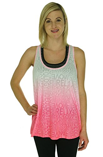Ideology Women's Dip-Dye Burnout Tank Top Shirt (XL, Neon Punch) ()