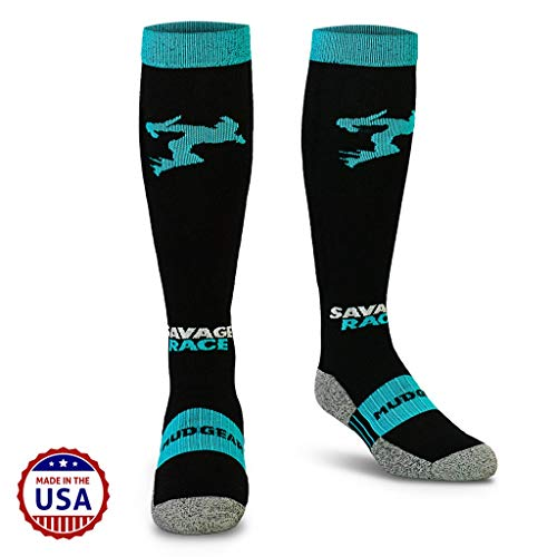 MudGear Savage Race Compression Socks - Men's and Women's Running Socks Made in USA for Outdoor Sports Performance & Recovery - 1 Pair (Black/Blue, Large)