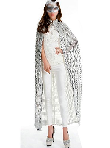 Dolores Ladies Sequins Cloaks Halloween Carnival Prop Full Length Capes Cosplay Fancy Dress Costumes,Silver