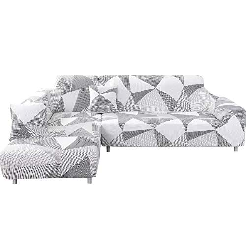 MIFXIN L Shape Sofa Cover 2 Pcs Stretch Slipcovers for Sectional Couch L-Shaped Sofa Furniture Protector Covers for Kids Pets with 2Pcs Pillow Covers (White+Gray) (Shaped Gray Couch L)