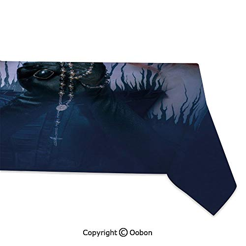 (Space Decorations Tablecloth, Queen of Death Scary Body Art Halloween Evil Face Bizarre Make Up Zombie, Rectangular Table Cover for Dining Room Kitchen, W60xL104)