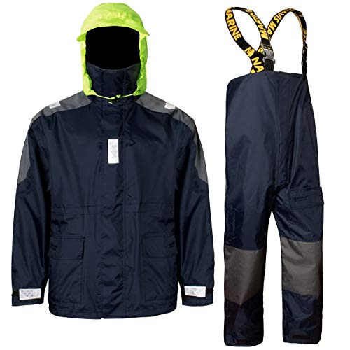 Navis Marine Coastal Sailing Jacket with Bib Pants Fishing Rain Suit Foul Weather Gear (Navy, L) ()