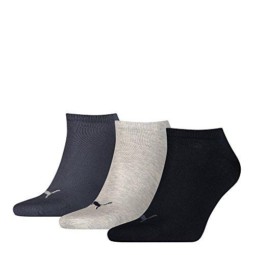 PUMA Herren Unisex Sneaker Plain 3P Sneakersocken, Navy/Grey/Nightshadow Blue, 39
