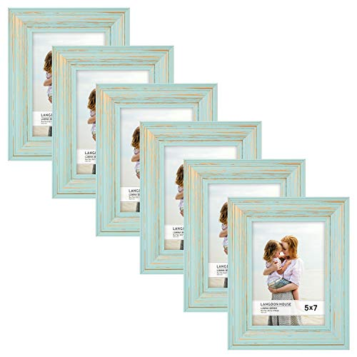 Langdons 5x7 Real Wood Picture Frames (6 Pack, Eggshell Blue - Gold Accents), Wooden Photo Frame 5 x 7, Wall Mount or Table Top, Set Of 6 Lumina Collection