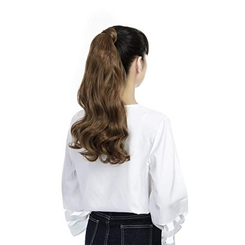 FUT Wrap Around Ponytail One Piece Clip In Curly Pony TIAL Hair Extensions 18inch 90g For Girl Lady Women Light Brown