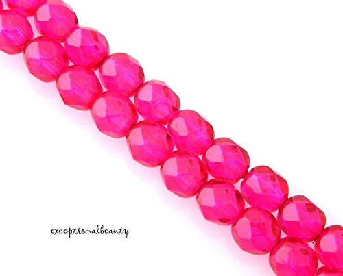 50 Fuchsia Pink Preciosa Czech Fire Polished Glass 6mm Faceted Round Beads