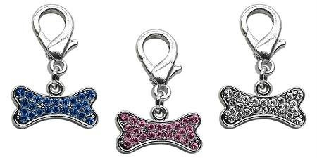 Mirage Pet Products Lobster Claw Bone Charm for Pets, Pink (Bone Charms Bling)