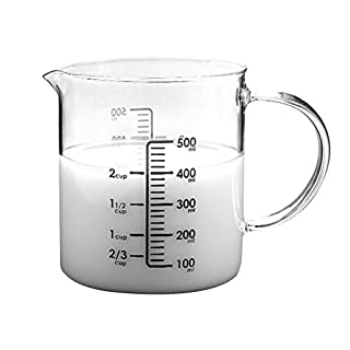 Hemoton Glass Measuring Cup Clear Measuring Cup for Baking and Cooking Hot Cup Transparent Scale Cup With Lid(500ML)