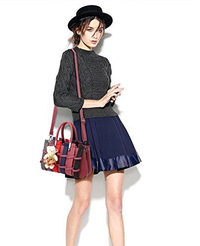 largo amp;DORIS damas Azul de Las PU de compras bolso bolso Marino NICOLE color Crossbody moda las Oscuro para de Rosa maneja bolso mujeres hombro bolsa Zd1Ww