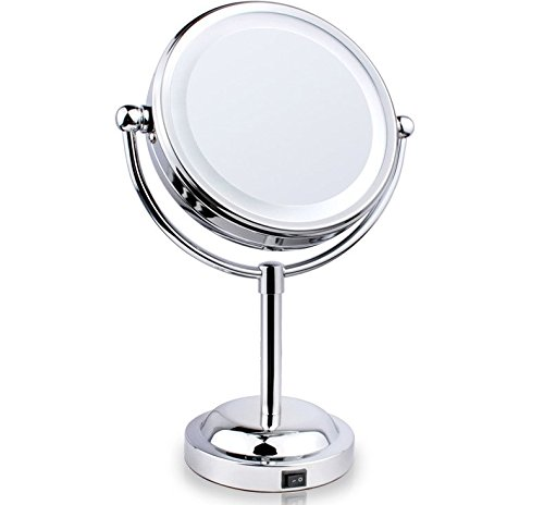 Double sided lighted makeup mirror polished chrome finish 6 inch battery operated and 3x Polished chrome bathroom mirrors