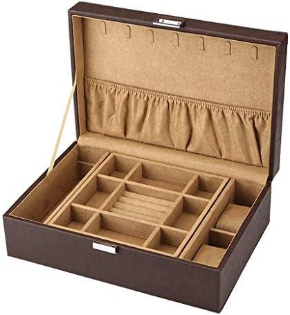 ダブルレザーPUジュエリー収納ボックスネックレスブレスレットリングスタッドピアスオーガナイザー宝箱 (Color : A)