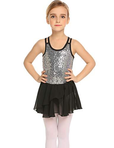 bfff763ab Arshiner Kids Girls Sequined Camisole Ballet Dance Leotards Dress  Gymnastics with Spark Tutu Skirt