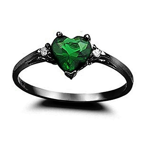 925 Sterling Silver Promise Ring Heart Shaped Simulated Emerald Black Tone Rhodium PL Clear CZ Accent, Size-8