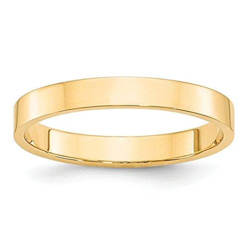 (14k Yellow Gold LTW Flat Band Size 5.5)