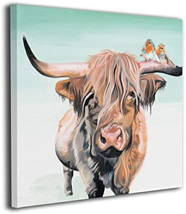 Kingsleyton Farmhouse Animal Cattle Highland Cow and Robins Bird Modern Home Decor Wall Art Painting Wood Inside Framed Hanging Wall Decoration Abstract Painting Ready to Hang 20 x20