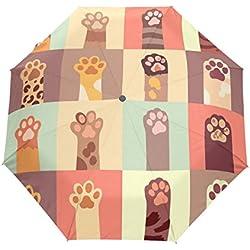 LORVIES Cats Paw Set Automatic 3 Folding Parasol Umbrella