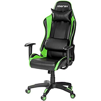 Merax Racing Gaming Style High Back PU Leather Metal Frame Swivel Office Chair (Green)