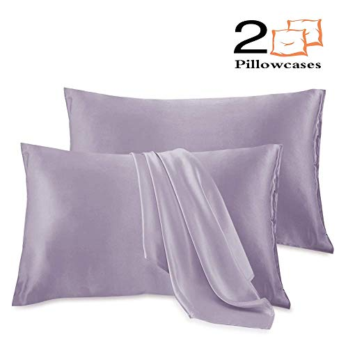 Royale Home Furnishing 2 Pack Silky Satin Pillowcase for Hair and Skin Cool Super Soft and Luxury Pillow Cases(Standard,Lilac Purple)