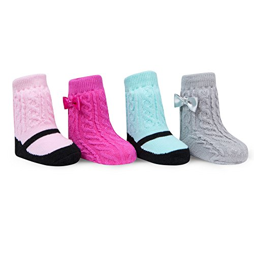 Baby Socks 4 Pack Bow Cable Knit Gripper Socks 0-12 Months ()