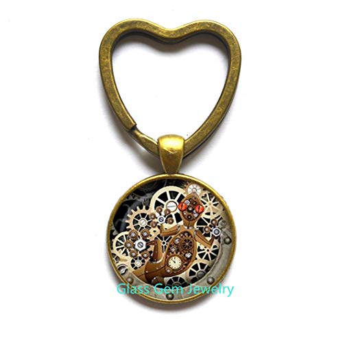 Steampunk Lizard Heart Keychain,Gecko Glass Key Ring Mechanical Clock Round Glass Dome Key Ring Heart Keychain s Jewelry,Q0126 (Y2)