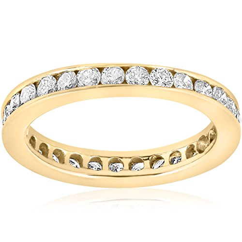 1ct Diamond Wedding Eternity Stackable 14K Yellow Gold Ring Channel Set ()