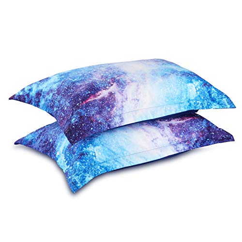 Wowelife 3D Galaxy Pillow Cases Set of 2 in Size 20''x 29'' for Galaxy Comforter Sets Blue(Pillow Cases, Blue Galaxy)