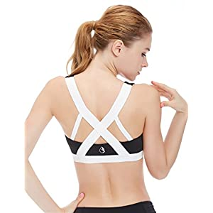 icyzone Women's Activewear Fitness Moving Comfortbal Racerback Sports Bras (M, White Cross Back)