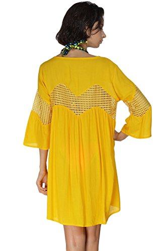 Nuevas señoras amarillo botón frontal Loose Fitting camisa estilo caftán playa encubrir verano Wear caftán talla UK 10–�?4EU 38–�?2