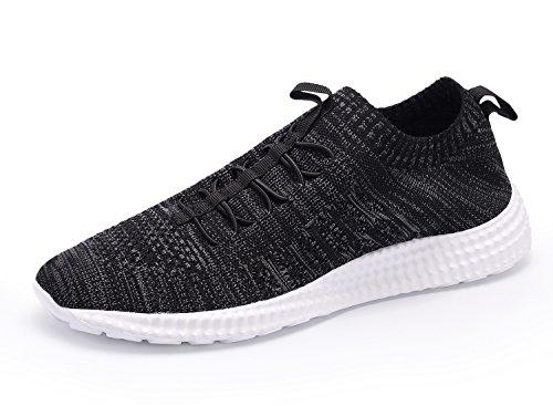 Eyeones Mens Shadow Knit Sneaker Scarpe Da Corsa Leggere Walking Traspirante Scarpe Casual Da Atletico Nero / Bianco