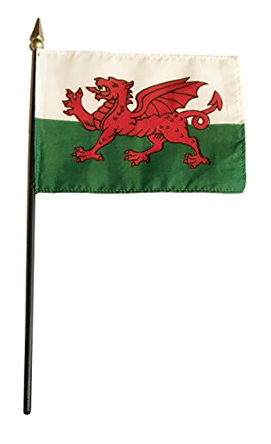 (Small 4 X 6 Inches Mini 4x6 inches Miniature Desk & Table Flag Banner with Polyester Stick - Europe GRP 2 (1-Pack, Country: Wales))