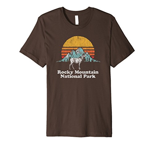 Brown Elk (Mens Vintage Rocky Mountain National Park Elk Retro T-Shirt Medium Brown)
