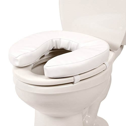 PCP Universal Foam Cushioned Toilet Seat with Fastening Straps, White, 2 Inch