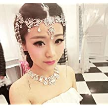 #3 Lady Tassel Hair Band Headdress Chain Rhinestone Diamond Wedding Bridal Head Wear Jewelry