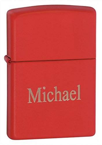 Personalized Zippo Red Matte Lighter with Free -
