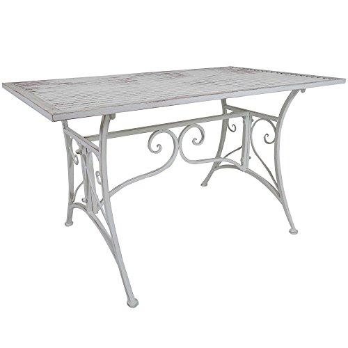 Cheap  Titan Outdoor Rustic White Metal Coffee Table Porch Patio Garden Deck Decor