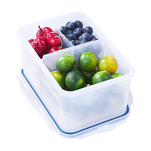 5-Cup Bento Lunch Box Meal Prep Container, 3 Removable Compartment 40.6-oz, BPA Free Airtight Lids Plastic Food Storage Container