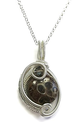 Agate Circle Pendant (Turritella Agate & Sterling Silver Woven Circle Pendant with Swarovski Crystal and Chain)