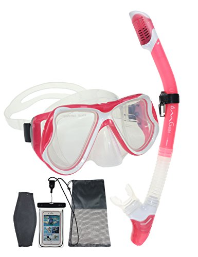 OMGear Snorkel Set Snorkeling Mask Dry Snorkel With Neoprene Mask Strap Waterproof Phone Case For Swimming Scuba Diving Freediving (pink) - Deep See Adventure Mask