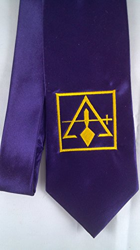 D0199 Masonic Purple Satin York Rite Tie with Council Logo Embroiderd in Bright Gold