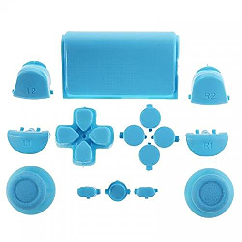 ElementDigital 15Pcs PS4 Replacement Shell Full Buttons, Thumbsticks Thumb Grip + D-pad For Sony Playstation 4 Controller (Light Blue)